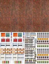 HO Scale Dark Calico Brick Windows Doors Assortment Model Train Scenery Sheets