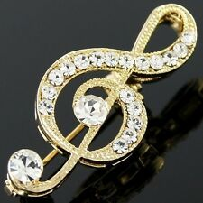 #P200 Elegant Music Note Treble Clef Shiny Clear Crystal Holiday Pin Brooch
