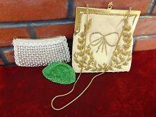 3 LOT Vintage HAND GLASS BEADED COIN PURSES Hong Kong SOUTH KOREA Handbags 1950s