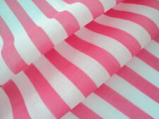DEEP PINK WHITE 15mm STRIPE POLY COTTON FABRIC per metre Great for bunting