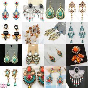 MULTI jewel EARRINGS gold/silver fashion FAUX GEMSTONE ethnic bead BEADED drop