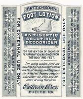 Vintage Patterson's Foot Lotion Antiseptic Solution & Deodorizer Medicine Label