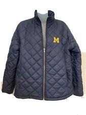 Womens Blue University Of Michigan Puffer Jacket Large 12-14