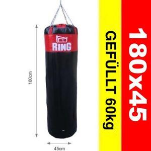 Profi Boxsack  Gefüllt 60 kg 180x45 cm Schwarz-Rot  Model: RW-180