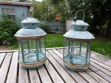 PAIR OF VINTAGE BRASS & ETCHED GLASS TEA LIGHT CANDLE LANTERNS STUNNING PATINA