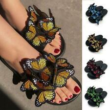 Women Ladies Butterfly Flat Sandals Summer Beach Shoes Size
