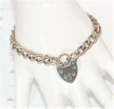 "7"" Vintage English Sterling Silver 925 Padlock Charm Bracelet Heart Clasp 18g"
