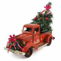 Christmas Vintage Metal Classic Pickup Red Truck w/Tree Farm House Rustic Decor