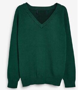New Mens V neck Bottle Green Knitted Wool Blend Pull Over Sweater Sleeve Jumper