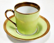 Haviland Limoges Laque De Chine Gold Rim - Pistache Demitasse Cup & Saucer Set