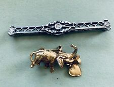 Elephant With Charms Gold Silver Tones 2 Unique vintage Brooch Art Deco &