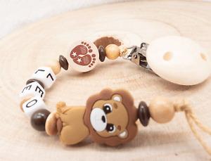 Schnullerkette mit Namen Junge ♥ Born 2020 Silikon Löwe ♥ Babygeschenk Holz