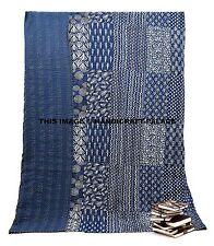Indigo Blue Block Print Cotton Kantha Bed Cover Patchwork Bedspread Quilt Throw