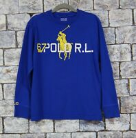 EUC Polo Ralph Lauren Boys Blue Big Pony Graphic Tee Shirt Size Small 8