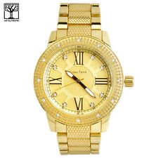 Men's 14k Gold Plated Luxury Analog Stainless Steel Metal Band Watches 1298 GD