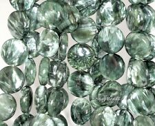18MM RUSSIAN SERAPHINITE GEMSTONE AA GREEN FLAT ROUND CIRCLE LOOSE BEADS 7.5""