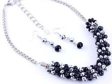 BLACK AND SILVER GLASS FACETED BEAD SILVER TONE LINK NECKLACE EARRING SET