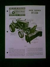 WHEEL HORSE TRACTOR SNOW THROWER ATTACHMENT MODEL ST 326 ASSEMBLY PARTS MANUAL