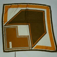 Pierre Cardin Scarf Vintage Designer Party Geometric Square Silk Yellow Gold