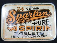SPARTAN BRAND Pure Aspirin Tablets Empty Medicine Tin Southern Chemical Co