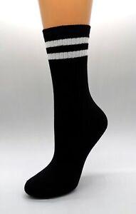 Unisex Socken Strümpfe schwarz mit weißen Streifen  4er-Pack