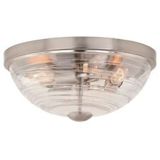 "Vaxcel Isley 3 Ligth 15"" Flush Mount, Satin Nickel - C0199"