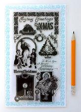 "Clear Stamps Lot (4""x7"") Bright Christmas Santa FLONZ Vintage 277 Rubber Acrylic"