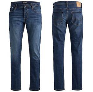 Mens JACK & JONES Comfort Fit Stretch Denim Jeans New Mike Blue Sale Size 30-38