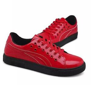 Mens Breathable Shiny Patent Pu Leather Board Shoes Sneakers Running Trainers Sz