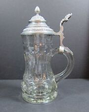 Antique Mold Blown Glass Stein with Pewter Lid, 1870's Cherub Thumb Lift