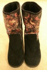 ED HARDY BLACK SUEDE AND SEQUIN BOOTS SIZE 4.5