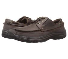 Mens Skechers Leather Shoes Brown Relaxed Fit Memory Foam Size UK 9