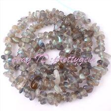 "3-5mm Freeform Shape Natural Gray Labradorite Chips Gemstone Beads Strand 15"""