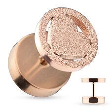 Dilatatore Finto Piercing Orecchini Barra Oro Rosa Cuore Diamantato