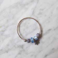 Pandora Silver And Blue Charms Bangle Set