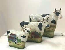 3 x Graduated Set Resin Cow Figurines Farmhouse Cottage Dairy