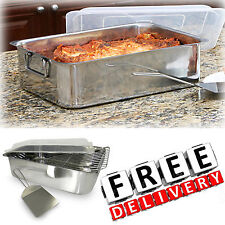 Stainless Steel Roaster With Cover 4 Piece Set Rack Spatula Deep Roasting Pan