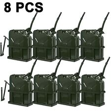 8PCS 5 Gallon Jerry Can Fuel Steel Tank Military NATO Style 20L With Holder
