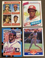 Ken Griffey, Sr. 4-CARD LOT including ROOKIE 1974 Topps, 1980 Topps, 1988 Leaf +