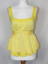 BNWT Firetrap Yellow White Patterned Low Cut Square Neck Summer Tie Back Top  M