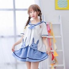 Fashion Loose Summer Preppy Dress Lolita Girl Rabbit Embroidery Top+Skirt Suit