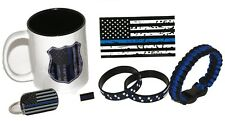11.oz American Flag/Police Thin Blue Line Coffee Cup and Stars and Stripes Gift