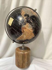 Vintage Decorative Wooden Spinning World Globe 55cm Tall