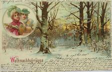 """"""" Noël,Femmes,manchon,Paysage hivernal """" 1899,Bureau de poste ferroviaire"""