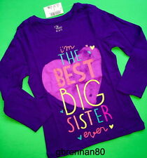 "*NEW! ""BEST BIG SISTER EVER"" Girls Graphic Shirt 4 xs 5-6 s Gift! Cute Purple LS"