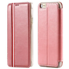 """Luxus LEDER Flip Cover Hülle für iPhone 6 / 6S (4.7"""") Leder Case PINK"""