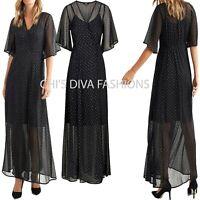 ELLOS 'Sibel' Polka Dot Angel Sleeve Maxi Dress Sizes UK 8-14