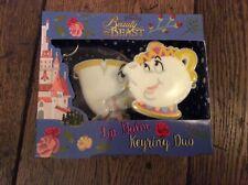 New Sealed Disney Beauty & Beast Lip Balm Keyring Duo Gift Set Mrs Potts & Chip