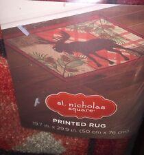 """ST.NICHOLAS SQUARE Moose Plaid Printed Rug 20""""x30""""Multi-Color Decor NEW Tags"""