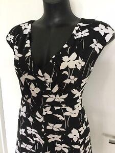 Size 16 Flattering Black Floral Print Dress